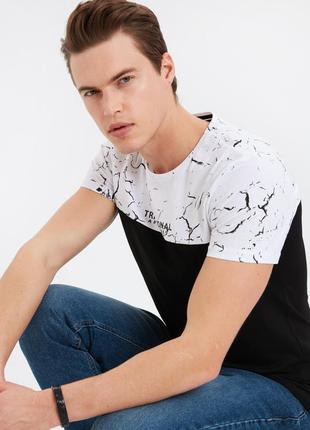 Черная мужская футболка lc waikiki / лс вайкики с белым мрамор...