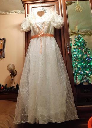 Платье фатиновое в горошек пышное длинное карнавальное