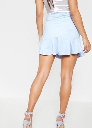 Ликвидация товара 🔥  юбка мини голубого цвета под замш размер ...
