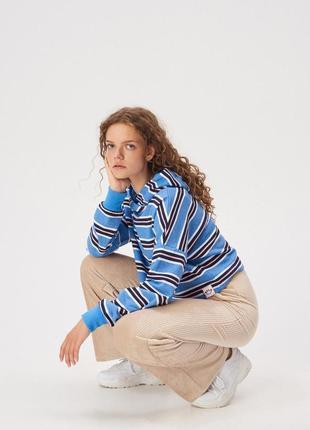 Новая короткая широкая полосатая синяя кофта свитшот полоски с...