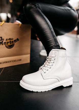 Женские ботинки зимние белые💖dr martens 1460 white💖кожаные сап...