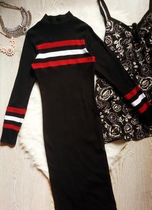 Черное натуральное длинное макси платье гольф водолазка с рука...