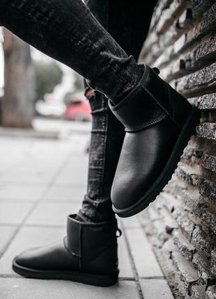 Мужские чёрные кожаные ботинки/уги/угги/сапоги с мехом💥ugg min...