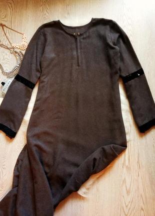 Серое длинное платье в пол черные пайетки блестящее капюшон во...