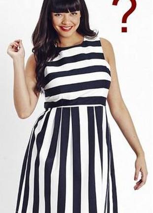Короткое платье в полоску с подкладкой черное белое на резинке...