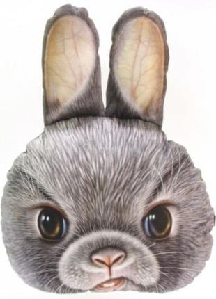 Большая 3D подушка Серый Кролик (p-16)
