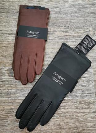 Утепленные кашемиром кожаные перчатки autograph