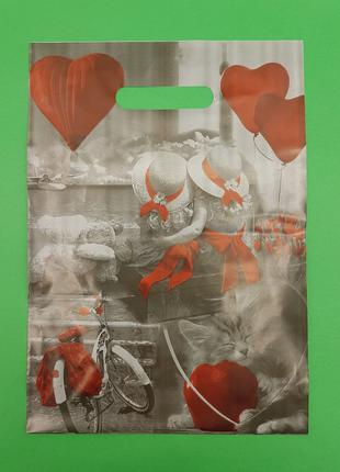 Пакет полиэтиленовый подарочный маленький с вырубной ручкой (2...