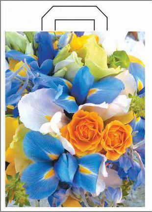 """Пакет полиэтиленовый цветной с петлевой ручкой """"Цветы"""" (34*41+..."""