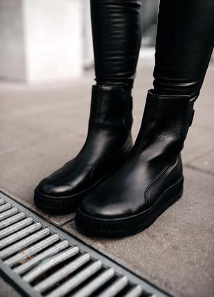 💖puma fenty sneaker black💖женские чёрные кожаные сапоги/ботинк...