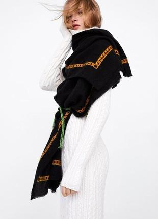 Нюанс! палантин , шарф в принт цепи zara