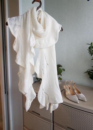 Шерстяной мохеровый шарф белый палантин ручная работа легкие р...