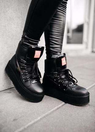 Женские ботинки чёрные пума💞puma fenty sneaker black💞сапоги сн...