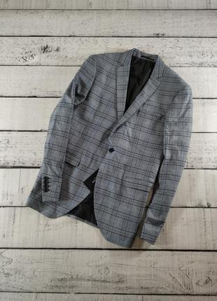 Пиджак серый в клетку с шерстью