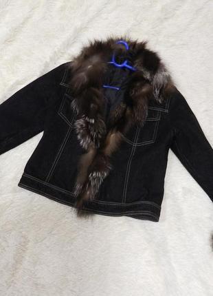 ✅пиджак куртка джинс натуральный мех чернобурка