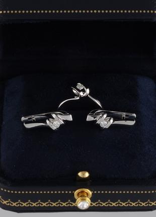 Кольцо и серьги из белого золота с бриллиантами