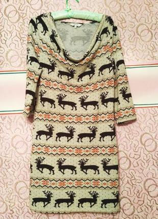 Платье с оленями