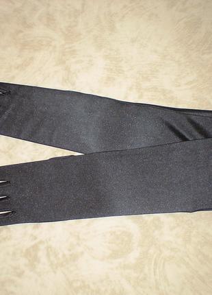 Перчатки атласные черные матовые длинна локоть