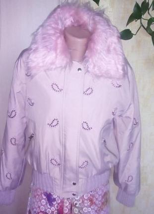 Турция!стильный розовый  бомбер с паетками/куртка/бомбер/пиджа...