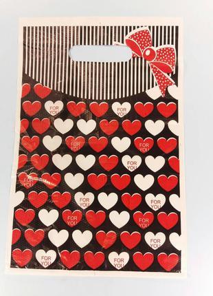 """Пакеты с вырубной ручкой (20*30) """"Сердце """" ХВГ (100 шт)"""