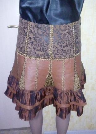 Красивенная юбка из натуральной кожи/юбка кожаная/юбка/кожаная...