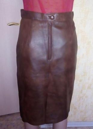 Эксклюзив!юбка из натуральной мраморной кожи/юбка кожаная/юбка...