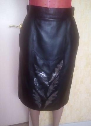 Vip!шикарная юбка из натуральной мягчайшей кожи/юбка кожаная/ю...