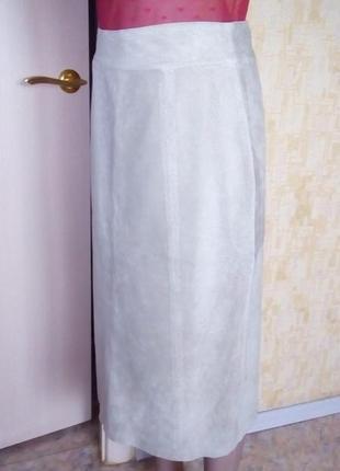 Шикарная замшевая  юбка с перфорацией/юбка кожаная/юбка/кожана...