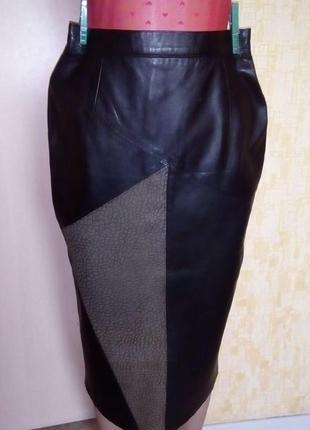 Vip!шикарная юбка из натуральной кожи /юбка кожаная /юбка кожа...