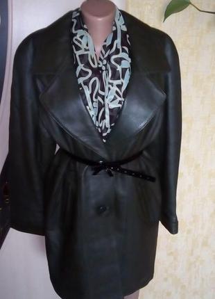 Стильный изумрудный тренч из 100 % мягкой кожи / кожаная куртк...
