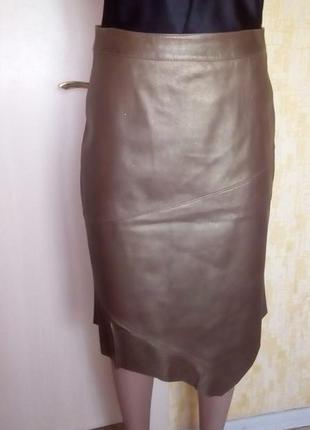 Эксклюзив!золотая юбка из натуральной кожи/юбка кожаная/юбка/к...