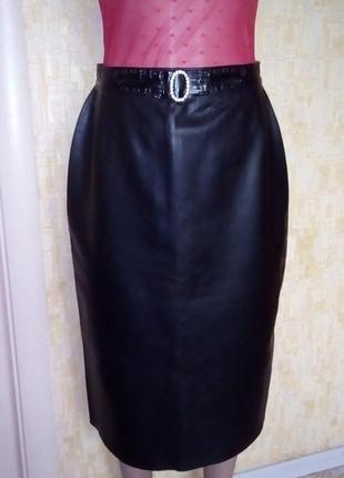 Vip!роскошная юбка из натуральной кожи/кожаная юбка/юбка