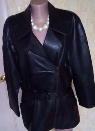 Крутая удлинённая косуха из 100% кожи+пояс/кожаная куртка/курт...