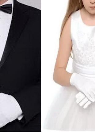 Перчатки детские нарядные белые атласные бальные 2-5 л для танцев