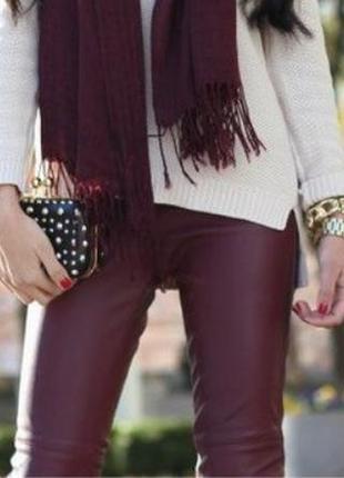 Эксклюзив! 100% кожаные мягкие брюки марсала кожаные брюки/шта...