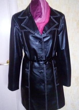 Vip! роскошный тренч из 100%  кожи/ куртка/ кардиган /плащ/пал...