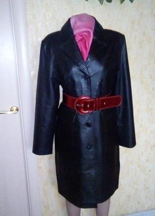Роскошный тренч из 100% кожи/ куртка/ кардиган /плащ/пальто/тренч