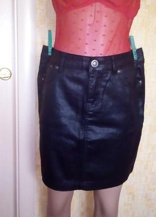 Юбка под кожу/кожаная юбка/черная кожаная юбка /джинсовая юбка...