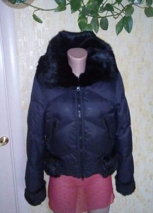 Крутой пуховик-бомбер с натуральным мехом/пальто/куртка/плащ/п...
