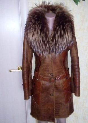 Роскошная натуральная дубленка с чернобуркой/меховая шуба/паль...