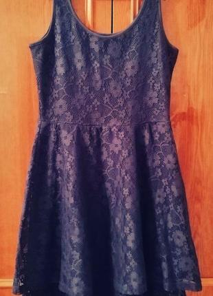 Синее кружевное платье terranova