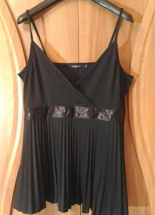 Чёрная блузка с плиссировкой размeр l (10-12)