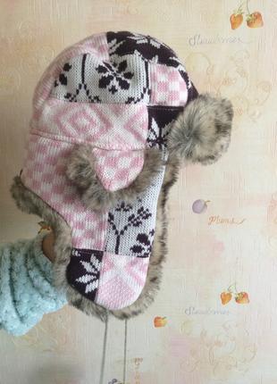 Детская шапка цветная тёплая для девочки