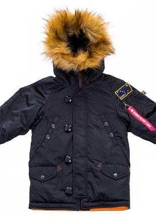 Дитяча зимова парка olymp — аляска n-3b kids, black