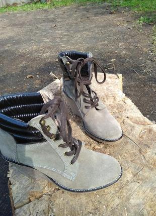 Замшеві ботильйони, ботинки на танкетке buffalo 39р