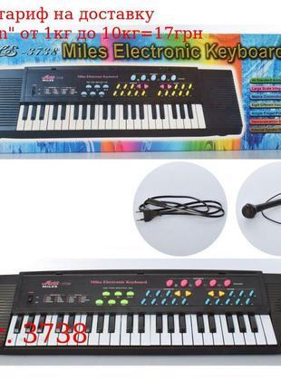 Синтезатор 3738 44клавиши, 74, 5см, микрофон, демо, запись, 2в...