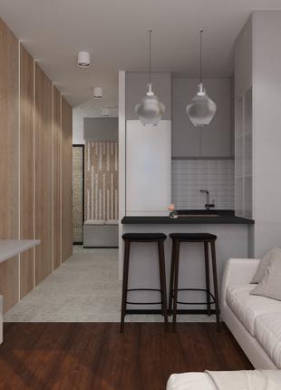 Современный интерьер квартиры студиа