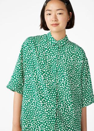 Блузка рубашка в горох oversize