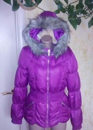 Сиреневый пуховик с капюшоном/пуховик/куртка/жакет/пальто/плащ