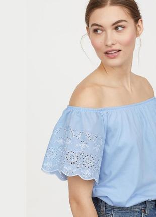 Блузка с прошвой открытые плечи